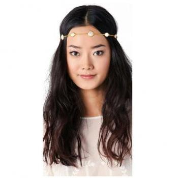 Rouelle BELLA Headpiece: Gold and Pearl Coin Stone Hair Piece, Head Chain