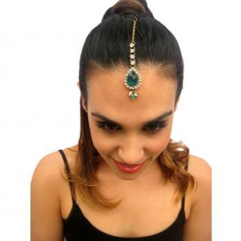 Rouelle JADE Forehead Piece Tikka headpiece hair jewelry in Green and Blue, head piece, hair chain, hair piece, head chain